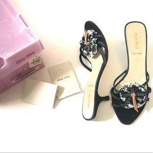 Miu Miu Frayed Denim Kitten Heel Sandals Size 8.5